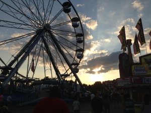 The Montgomery County Agricultural Fair at sunset.